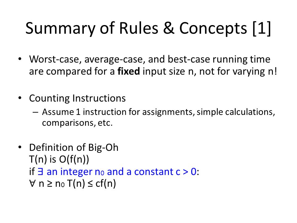 Summary of Rules & Concepts [1]